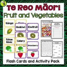 Te Reo Māori Fruit, Vegetables Flash Cards and Activities Teaching Reading, Teaching Kids, Primary Classroom, Elementary Teacher, Maori Words, Visual Cue, Fruits For Kids, Classroom Environment, School Resources