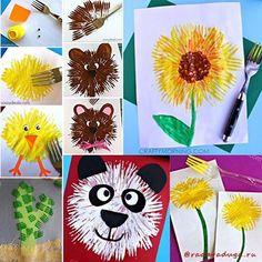 Посмотрите,какую красоту можно нарисовать с помощью вилки! Источники:craftymorning.com,fantasticfunandlearning.com,sassydealz.com