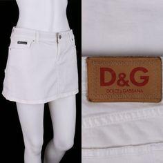 D&G DOLCE & GABBANA WHITE DENIM MINI SKIRT SZ 28 #DG #Mini