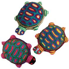 "United Art and Education Art Project: Explore the traditional art of the Huichol people in Mexico by creating easy ""Yarn Painted"" Turtles!"