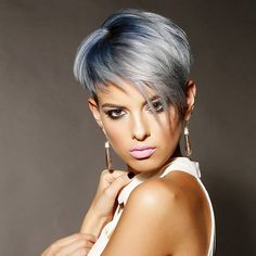 Amazing short undercut...blue grey melting to lighter shades of icy blonde…