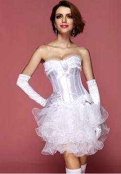 Sexy Burlesque Bridal Corset - AM2685A-W - victoricks.com