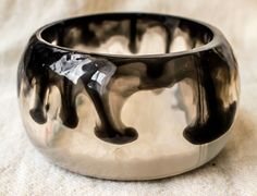 Stylish combination by PAGANE uniques #jewelry #bangle #bracelet #resin #blackANDwithe #classical #design