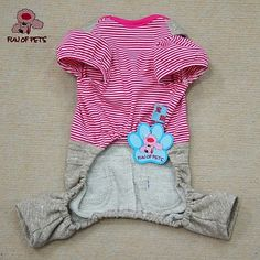 Cat Dog Jumpsuit Dog Clothes Holiday Fashion Stripe Blue Pink Costume For Pets 2018 - $10.99