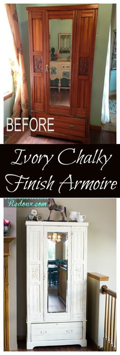 Ivory Chalky Finish Armoire