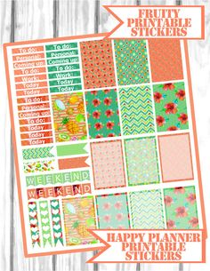 Fruity printable stickers Happy Planner Stickers Kit (MAMBI)