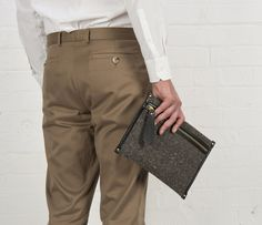 Cherchbi Docket Zip Pouch, grey Herdwyck tweed