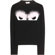 Fendi Fur-Embellished Wool Sweater ($940) ❤ liked on Polyvore featuring tops, sweaters, black, black sweater, black embellished top, fendi sweater, embellished sweater and black wool sweater