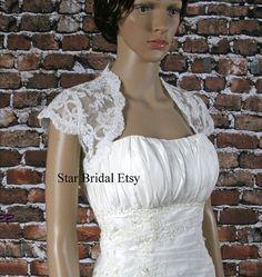 dd13bdbc3f9 Cap Sleeve Ivory or White Lace Wedding Bridal Bolero Jacket Shrug S-XXL   BL21