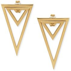 Double Triangle Drop Earrings in 14k Gold (13.170 RUB) ❤ liked on Polyvore featuring jewelry, earrings, yellow gold, gold triangle earrings, geometric earrings, gold jewellery, 14k gold jewelry and 14k earrings