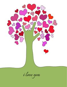 """Here is a new design. I drew the """"I Love You"""" handshape as the tree trunk and branches and the hearts as leaves on the tree. Enjoy! You can find this on my website - sayitinsign.com"""