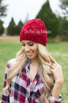 ✨Apply Laurenhrep for a 10% discount at checkout!✨   Cold Weather Knit Beanie Burgundy - The Pink Lily Boutique