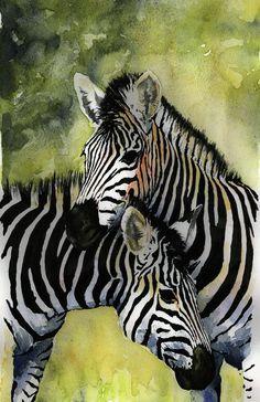 Beautiful watercolor of a pair of zebras!