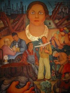 Diego Rivera Mural at the City Club in San Francisco. This mural celebrates San Francisco through the eyes of famed artist Diego Rivera. Frida Kahlo Diego Rivera, Diego Rivera Art, Frida And Diego, Statues, Political Art, Mexican Artists, Social Realism, Mural Art, Les Oeuvres