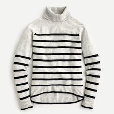 Tipped turtleneck sweater in striped supersoft yarn Sweaters For Women, Men Sweater, Tank Top Shirt, Cashmere Sweaters, Personal Style, J Crew, Vintage Fashion, Turtle Neck, Clothes For Women