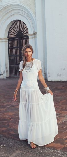 FLASH SALE at Bona Drag. 40% off For Love & Lemons!!!  White Sombrero Maxi Dress.