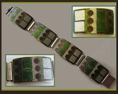 Mod-Matte-MAGNIFICENT--Sterling Silver/Matte Enamel Modernist PERLI Style Bracelet, Germany,Black Counter-Enamel,Vintage Jewelry