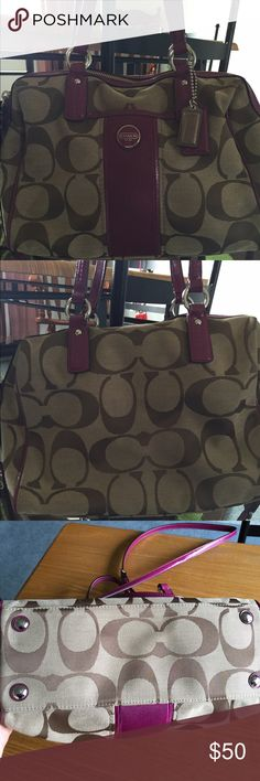 Brown signature COACH bag w/purple trim . 💜💕💜💕 Beautiful bag with detachable shoulder strap. Very versatile !! Used and appreciated while in my care. 💜Does show some signs of wear. A few ink marks on inside of bag. Coach Bags Satchels