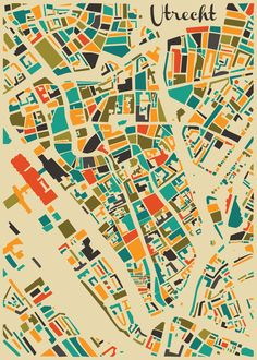 This city map of Utrecht is for sale with worldwide shipping! Free shipping in The Netherlands and Belgium. € 14.95 - € 39.95! utrecht map autumn mosaic