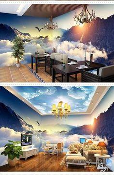 Cloud sea peak theme space entire room wallpaper wall mural decal IDCQW-000036