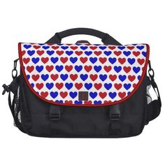 Red and Blue Hearts Laptop Computer Bag - $203.95 - Red and Blue Hearts Laptop Computer Bag - Red and Blue Hearts, alternating in color, against a white background. These are the Red, White and Blue of America. Go USA! America Pride.