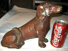 *** being offered is this spectacular, x rare, and much harder to find, *** guaranteed antique, *** large sitting dachshund dog art statue sculpture doorstop, in very good to excellent aged condition ( please view my photo's ).
