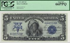 Fr. 271 - 1899 $5 Silver Certificate This note is difficult to describe without using traditional superlatives. It is fair to say that even the high grade of gem 66 might be a touch conservative. Perhaps the back centering is a bit high, but everything else is above just gem quality.