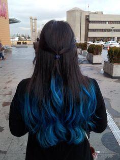 Hair blue dip dye hair, blue ombre hair, hair color blue, hair co Blue Dip Dye Hair, Hair Tips Dyed Blue, Dyed Ends Of Hair, Dyed Tips, Hair Dye Tips, Hair Color Tips, Dip Dye Hair Brunette, Blonde Brunette, Blue Brown Hair