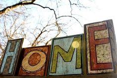 """""""Home"""" scrapwood blocks"""