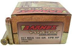Barnes Vor-TX Ammunition    - Caliber: 357 Magnum  - Grain: 140  - Bullet: XPB HP  - 20 Rounds per box