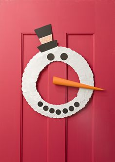 Cool Snowman Craft for Kids: Paper Door Wreath