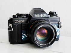 Minolta X-700 + Lens of choice! functional vintage 35 mm film SLR camera for lomography, Neckstrap, Filter, Genuine leather, New lightseals!