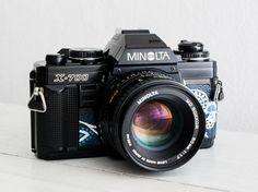 Minolta X-700 + Lens of choice! functional vintage 35 mm film SLR camera for lomography, Neckstrap, Filter, Genuine leather, New lightseals!