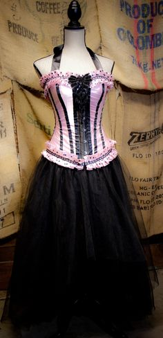 Bridal Costume Prom Wedding Dress in pink & Black tulle skirt,  Burlesque corset top. $275.00, via Etsy.