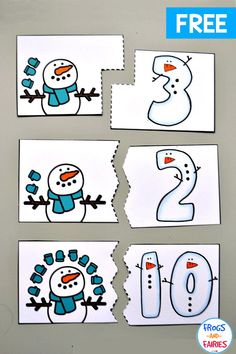 Practice counting with these Free Snowman Counting Puzzles! Your kids can practice numbers with these adorable winter puzzles! Practice counting with these Free Snowman Counting Puzzles! Your kids can practice numbers with these adorable winter puzzles! Preschool Themes, Preschool Lessons, Preschool Learning, Kindergarten Math, Free Preschool Games, Numbers Preschool, Winter Activities, Toddler Activities, Activities For Kids