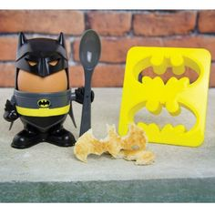 Batman Egg Cup and Toast Cutter. Na Na Na Na NA NA NA NA Eggman cup Bat boomerang thingy man. Shit that went horrible wrong.  Lets try again.  Na Na Na Na NA NA NA NA boiled egg head batman toast cutterang…Fuck!!!!  Last time  Na Na Na Na NA NA NA NA Batman cup egg bat egg head…..why is this so fucking hard!!!!  If the Bruce be told, this entire joke has gone Wayne too far already…So I am just going to leave it there. £7.88 #eggcups #kitchenaccessories #batman