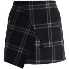 Chicwish Asymmetric Tartan Wool-blend Bud Skirt (605 MXN) ❤ liked on Polyvore featuring skirts, bottoms, faldas, saias, green, zip back skirt, tartan skirt, green tartan skirt, lined skirt and back zipper skirt