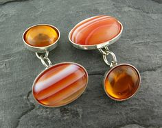 Dolci Due Lato Cufflinks featuring Orange Lace Agate and Amber gemstones in Sterling Silver. Cufflinks by WMDEAN $200.00