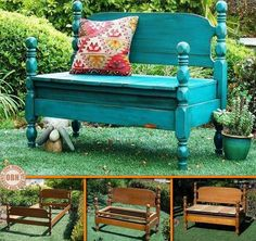 """Who would have thought that this wonderful bench was originally a bed! Learn more ways of repurposing stuff that usually ends as landfill by visiting our """"Recycled"""" album on our site at http://theownerbuildernetwork.co/recycled-and-repurposed/recycled-a-world-of-free-opportunities/ Anyone else want to start hunting for an old bed to recycle?"""