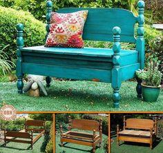 Wer hat noch so ein altes Ehebett auf dem Speicher? Auch aus einer einfacheren Form kann eine stabile Gartenbank entstehen.