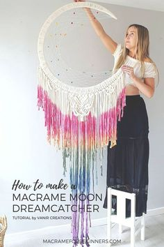 It's hard not to immediately fall in love with the beautiful #Macrame Moon Dreamcatchers by Rebecca Millar from Vanir Creations! Learn how to make your own Dreamcatcher with 5 of her best video… More Yarn Wall Art, Big Wall Art, Easy Diy Crafts, Diy Crafts To Sell, Kids Crafts, Macrame Projects, Diy Craft Projects, Macrame Wall Hanging Diy, Macrame Art