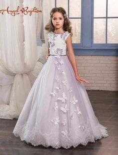 Lilac purple flower girl dress A-line sweep train open back princess first communion with crystals laces butterfly fairy dresses #Affiliate
