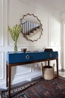 Modern Blue Entryway Table with Mirror and Simple Decor - Best Entry Table Decor. Modern Blue Entryway Table with Mirror and Simple Decor – Best Entry Table Decor Ideas: How To De Entryway Console Table, Entrance Table, Entry Tables, Entryway Furniture, Console Tables, Entrance Decor, Accent Tables, Table Lamps, Side Tables