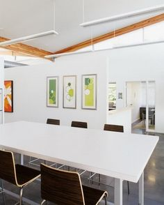 Clean White Decoration With Abstract Wall Photos Designs In Modern Office  Interior Decoration Design Ideas Modern
