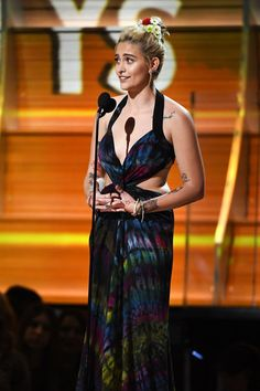 Paris Jackson Photos Photos - Paris Jackson speaks onstage during The 59th GRAMMY Awards at STAPLES Center on February 12, 2017 in Los Angeles, California. - The 59th GRAMMY Awards - Show