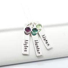Personalized Mother Necklace Grandmother Hand-Stamped Necklace | Three Bar Mother Child Necklace with Birthstones by DesignMeJewelry on Etsy