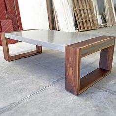 """""""Final delivery for the year! Natural walnut and light grey concrete a sublime…"""