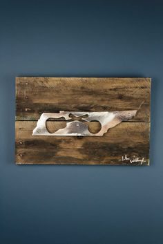 Tennessee Music Guitar & Banjo Reclaimed Wood & Shaped Metal Art