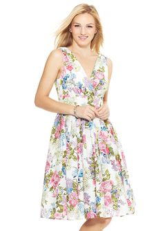 ARYEH Sleeveless V-Neck Floral Fit and Flare Dress