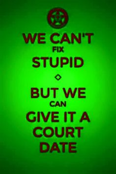 We can't fix stupid, but we can give it a court date. Legal Humor, Cops Humor, Police Humor, Funny Police, Leo Police, Firefighter Humor, Police Flag, State Police, Law School Humor